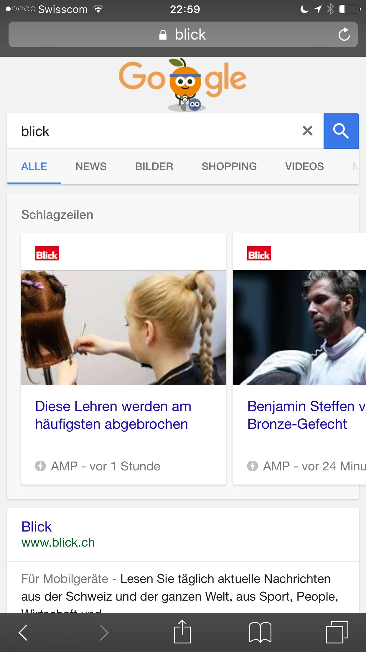 """AMP Karussel auf Mobile bei Google für Brandsearch """"Blick.ch"""""""