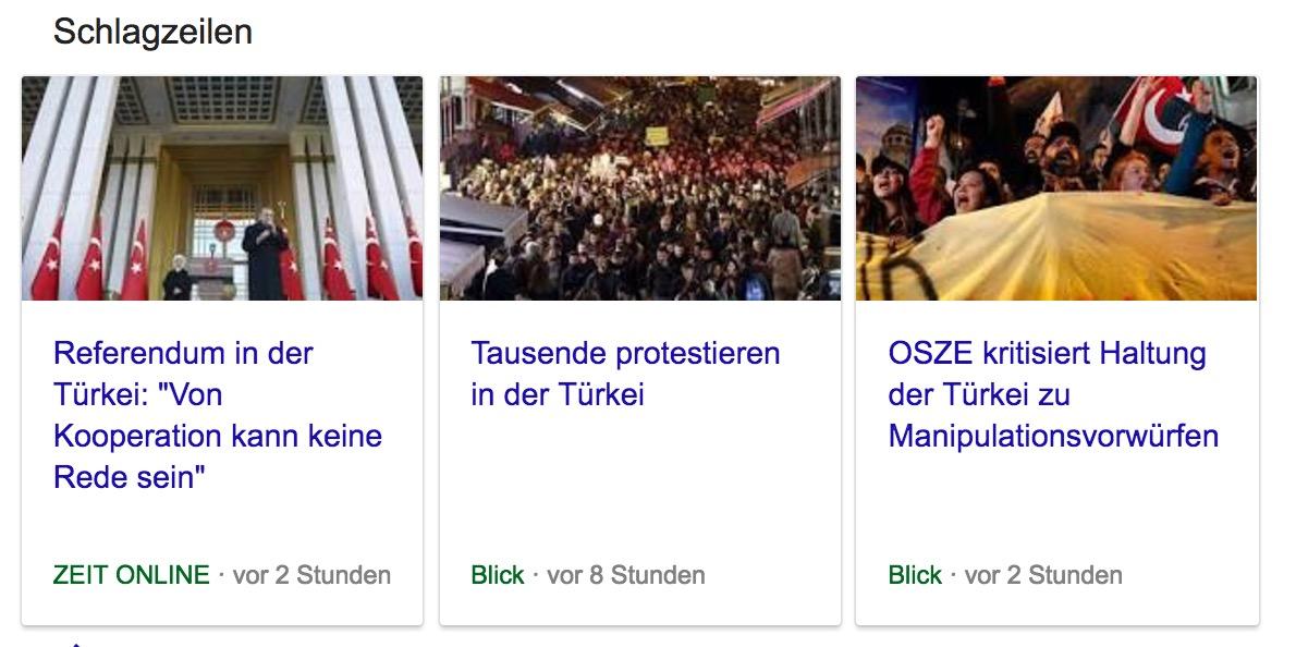 Screenshot einer News Box im Google Suchresultat