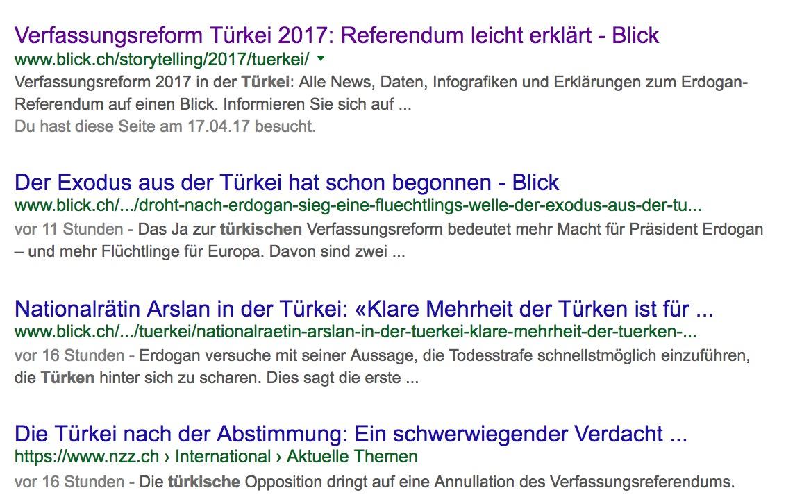 Suchresultat für Türkei auf google.ch