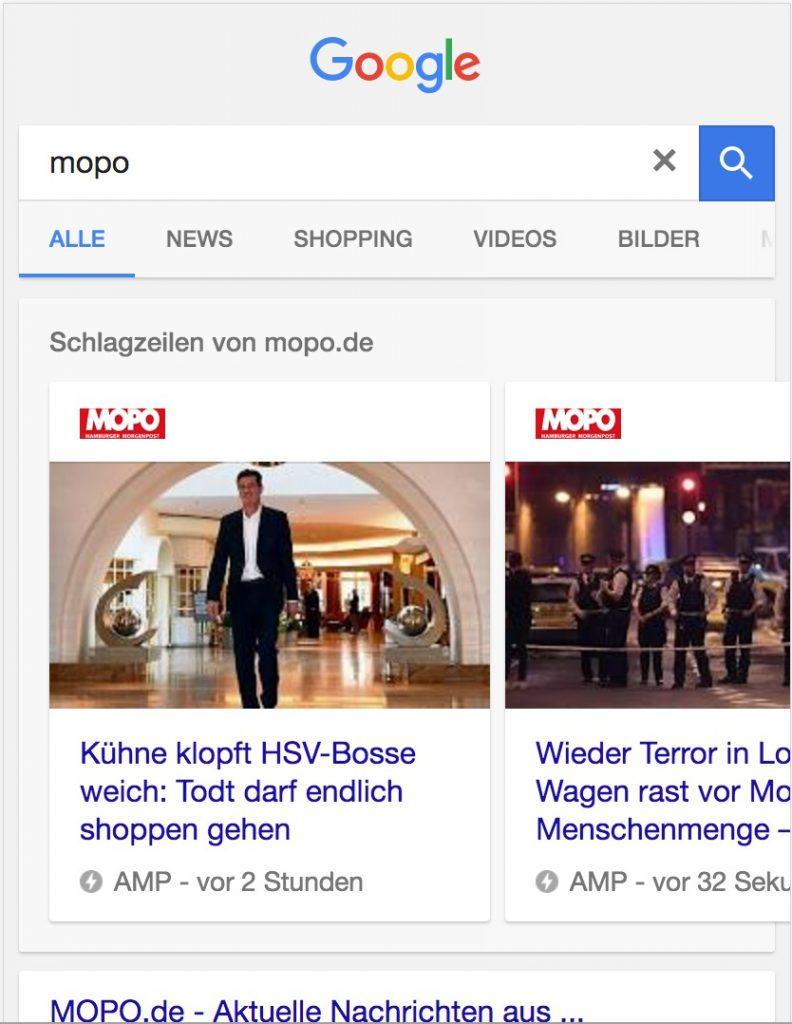 AMP Schlagzeilen Karussell der Hamburger Morgenpost auf google.ch