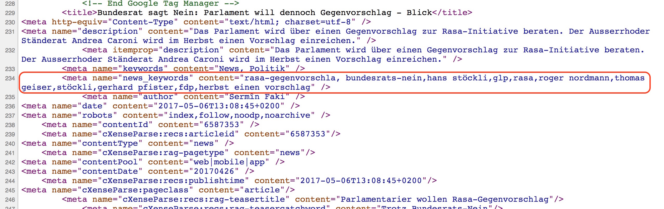 Screenshot eines meta news keyword tag auf blick.ch
