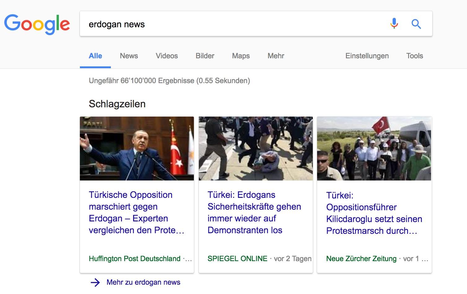 Google Schlagzeilen Karussell auf Desktop Ansicht zum Suchwort: Erdogan News