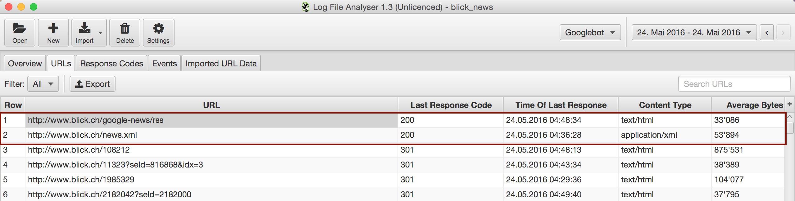 Screenshot vom Log File Analyzer Screaming Frog